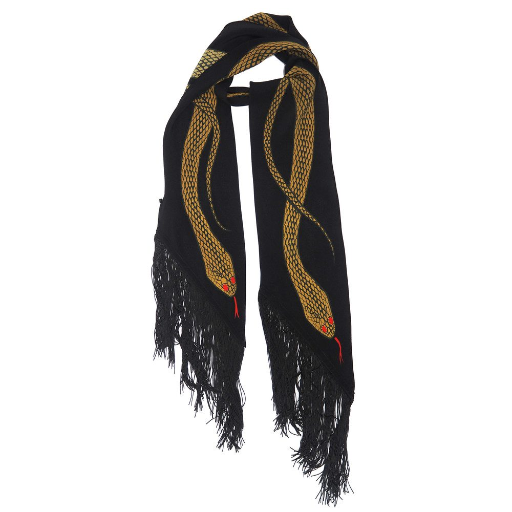 Classic Skinny Fringed Scarf - Gold Snakes