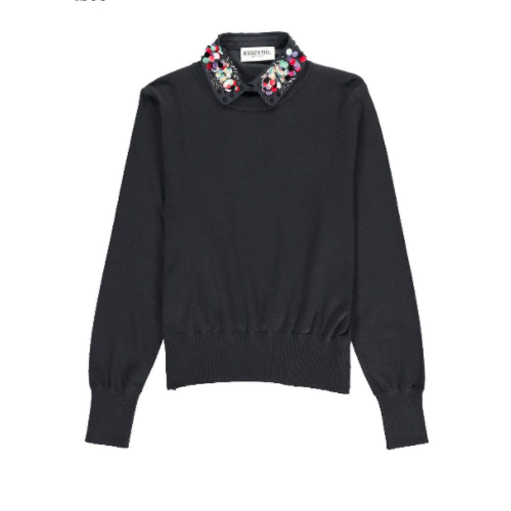 Porto Mock Embellished Shirt Sweater - Uniform Blue