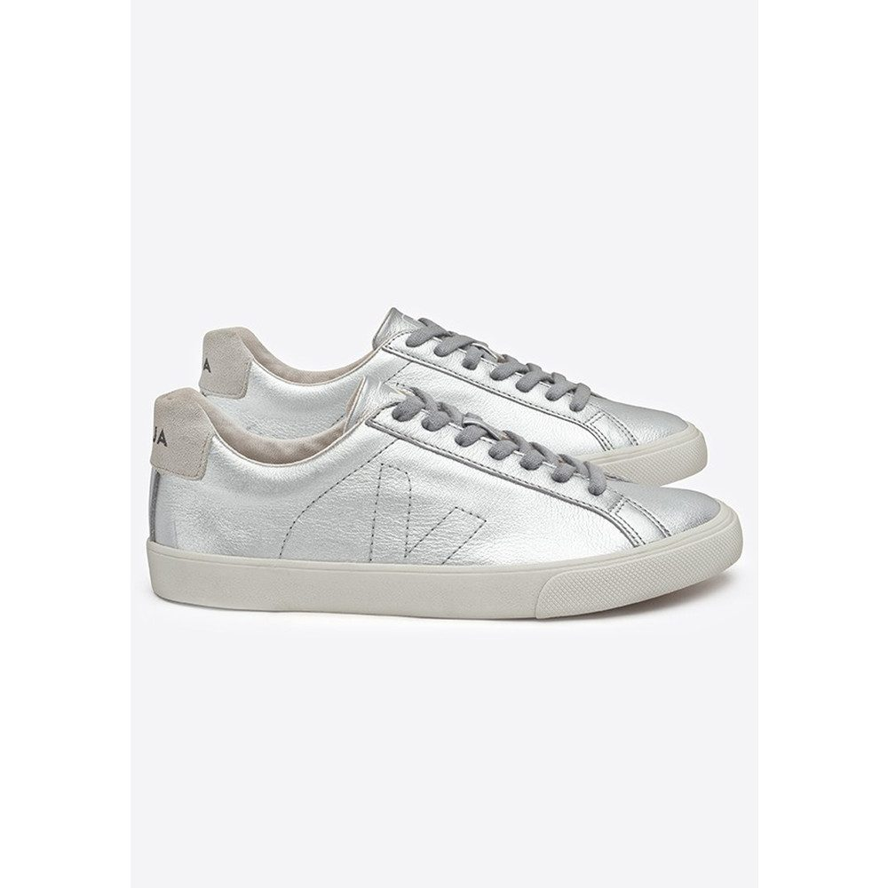 Espar Leather Trainers - Silver Pierre