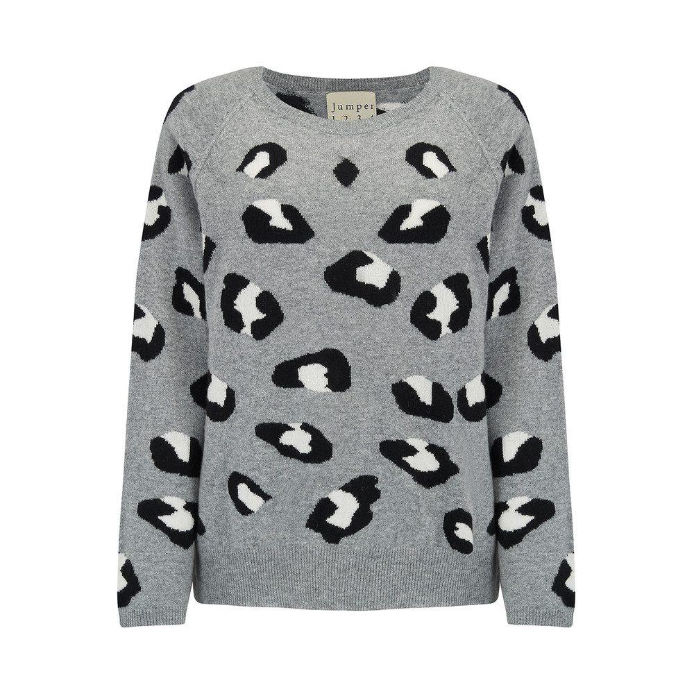 Leopard Cashmere Jumper - Grey