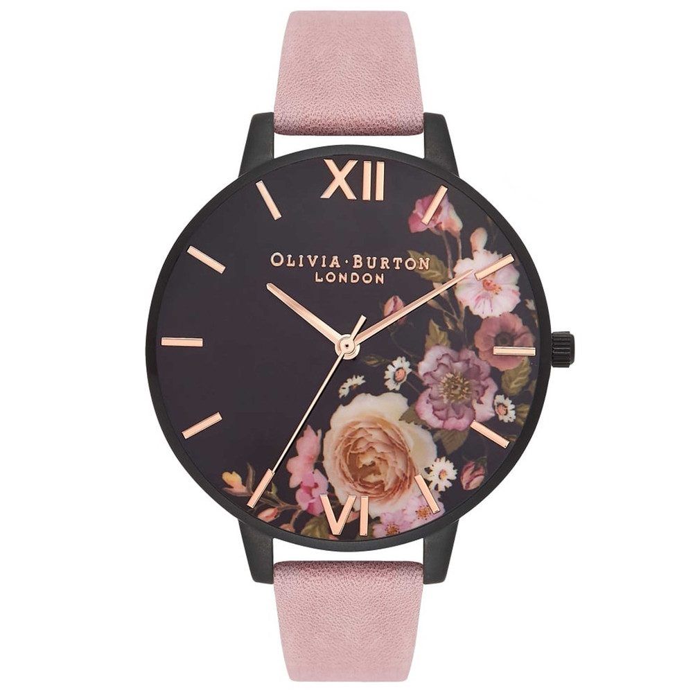 After Dark Rose Suede Watch - Matte Black