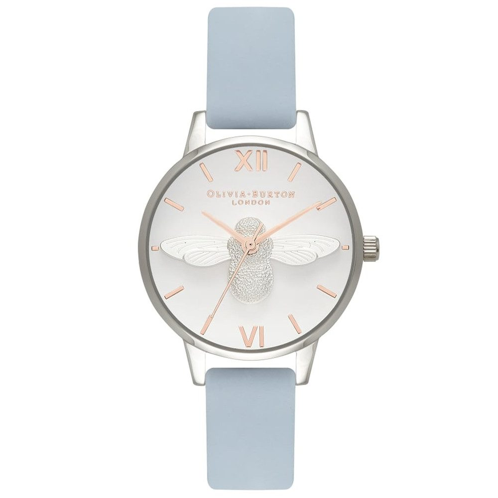 Midi 3D Bee Watch - Chalk Blue, Silver & Rose Gold