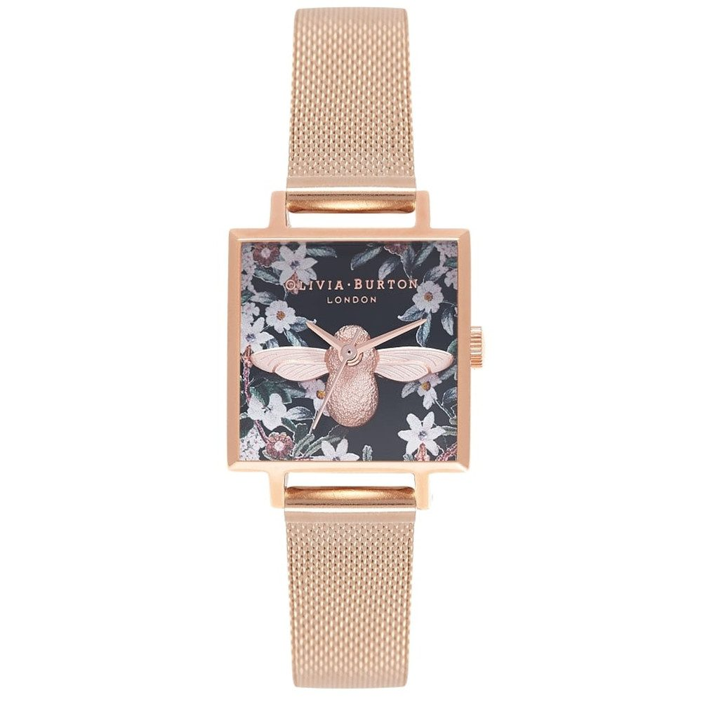 Bejewelled Florals Square Dial 3D Bee Mesh Watch - Rose Gold