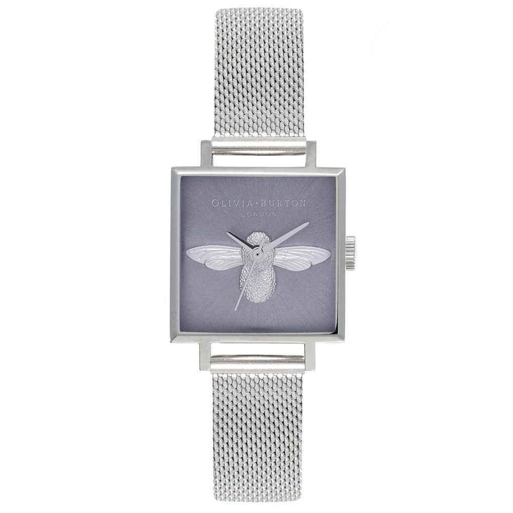 Square Dial 3D Bee Lilac Sunray Mesh Watch - Silver