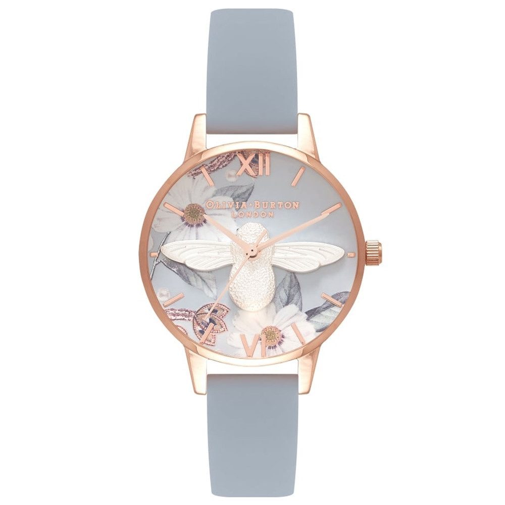 Bejewelled Florals Midi 3D Bee Watch - Chalk Blue, Silver & Rose Gold