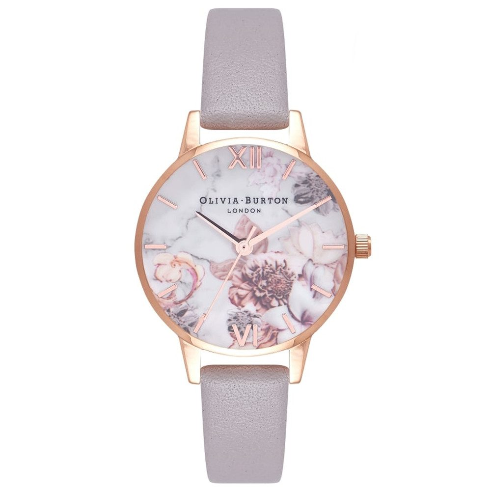 Marble Florals Watch - Grey Lilac & Rose Gold