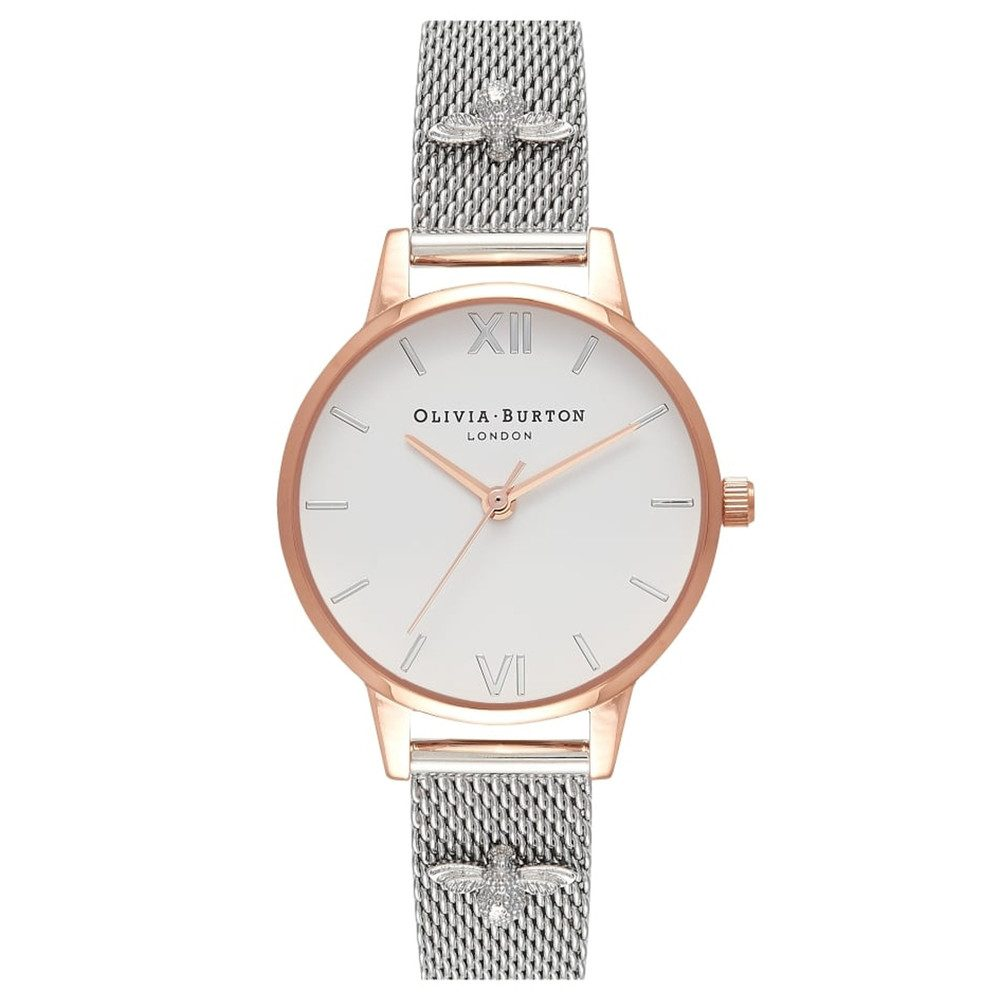 3D Bee Embellished Strap Mesh Watch - Rose Gold & Silver