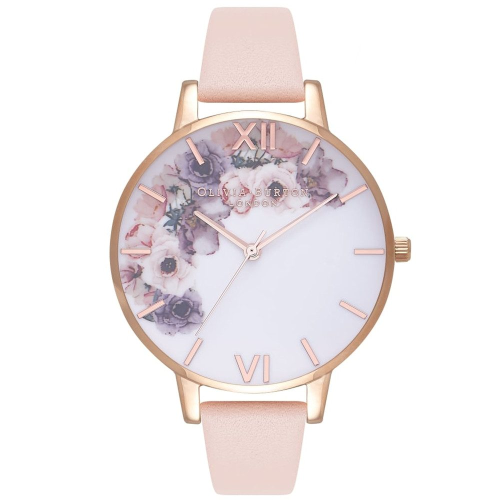 Watercolour Floral Watch - Nude Peach & Rose Gold