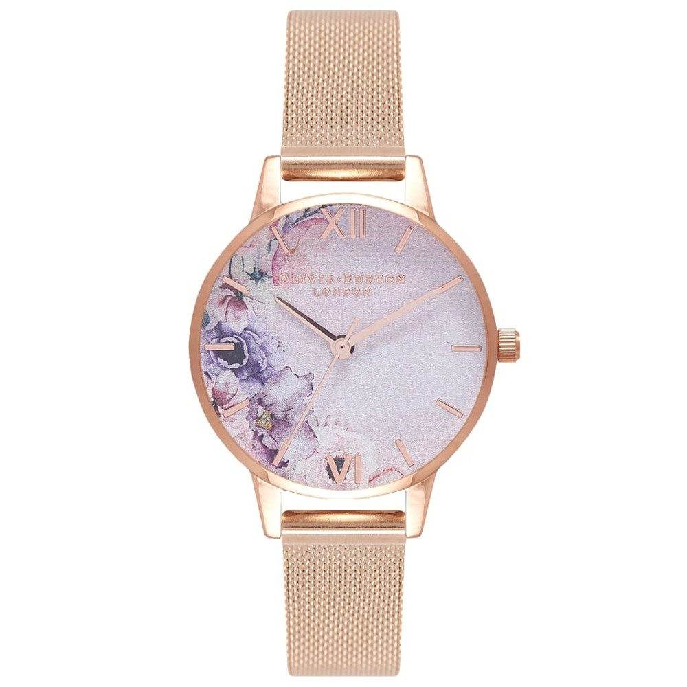 Watercolour Floral Mesh Watch - Rose Gold