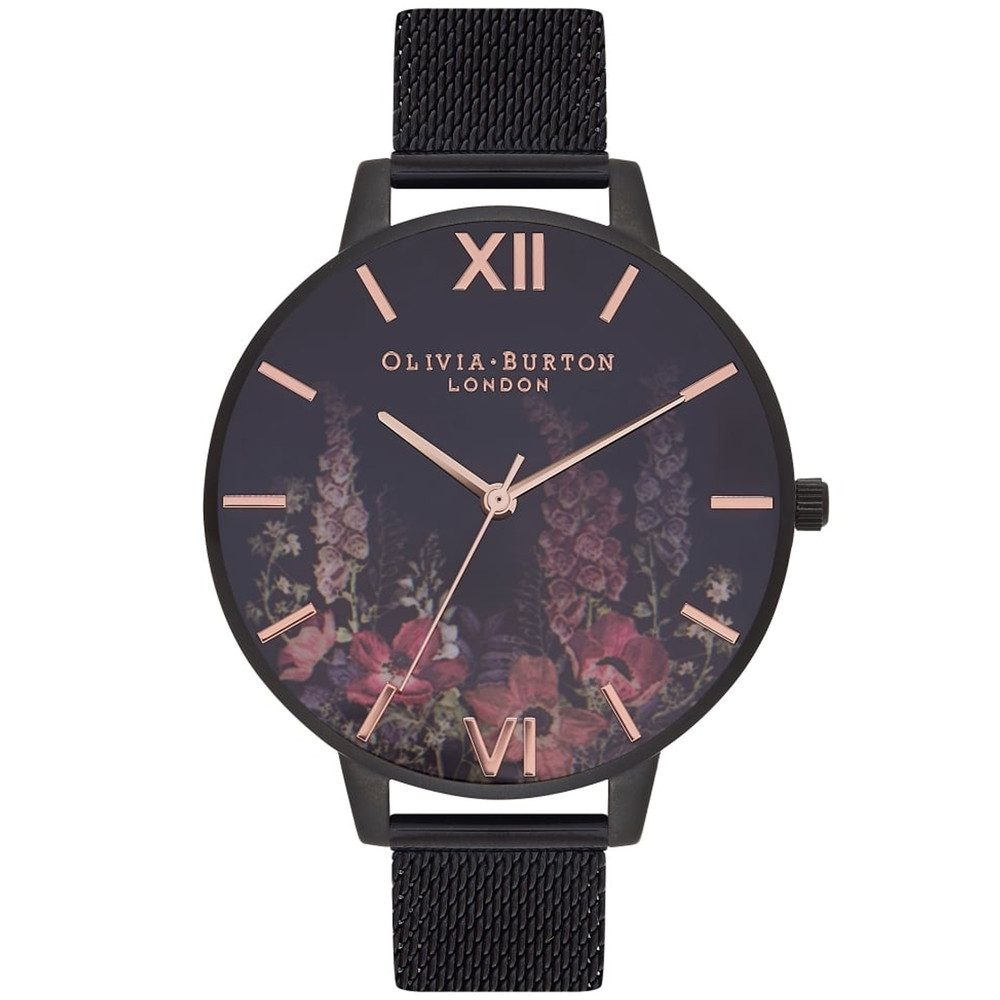 After Dark Mesh Watch - Black & Rose Gold
