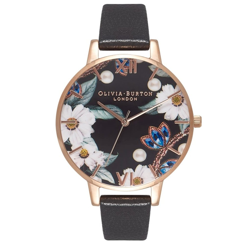 Bejewelled Floral Big Dial Watch - Black & Rose Gold