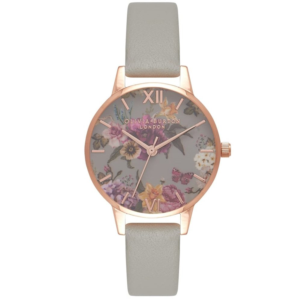 Dark Bouquet Watch - Grey & Rose Gold
