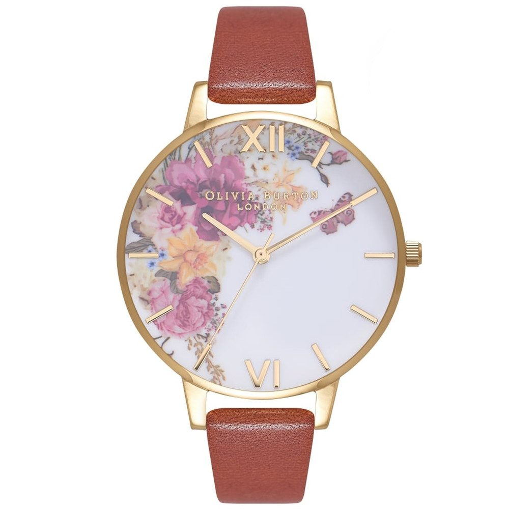 Enchanted Garden Watch - Tan & Gold