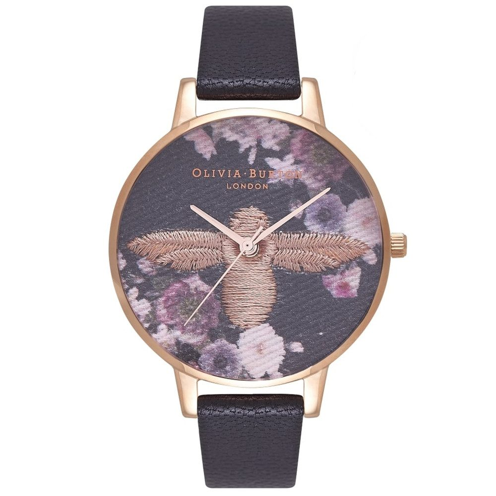 Embroidered Dial Watch - Black & Rose Gold