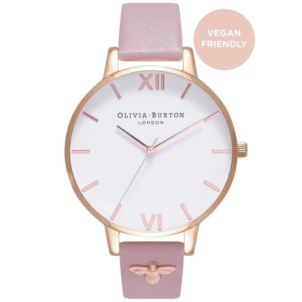 Vegan Friendly 3D Bee Embellished Strap Watch - Rose Sand & Rose Gold