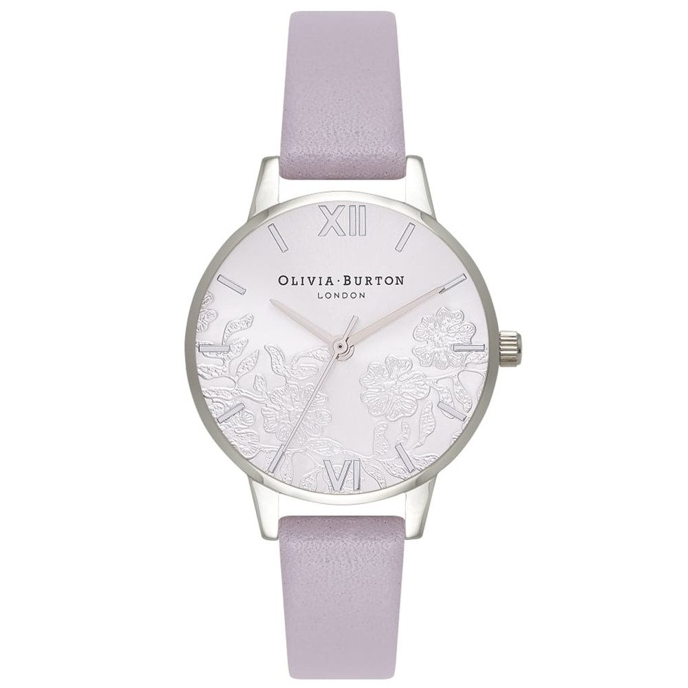 Lace Detail Watch - Grey Lilac & Silver