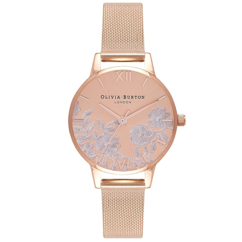 Lace Detail Mesh Watch - Rose Gold
