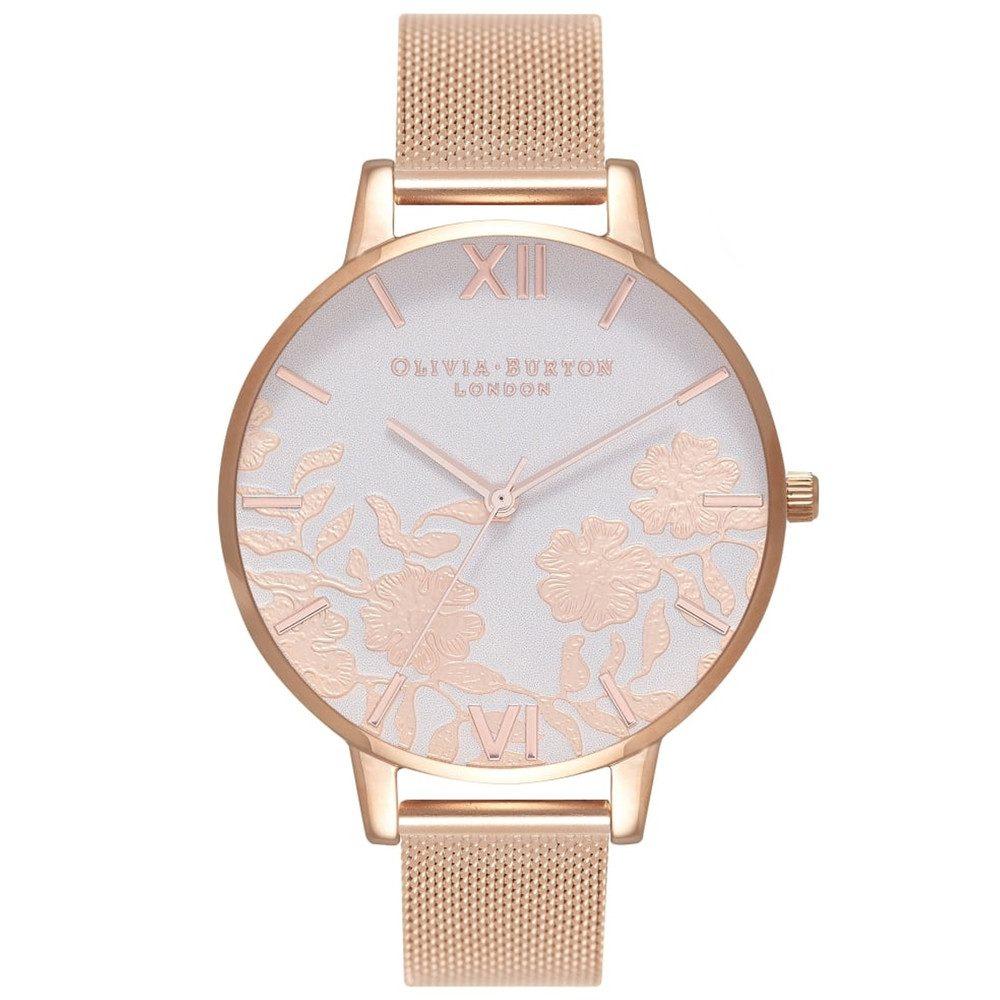 Lace Detail Blush Dial Mesh Watch - Rose Gold