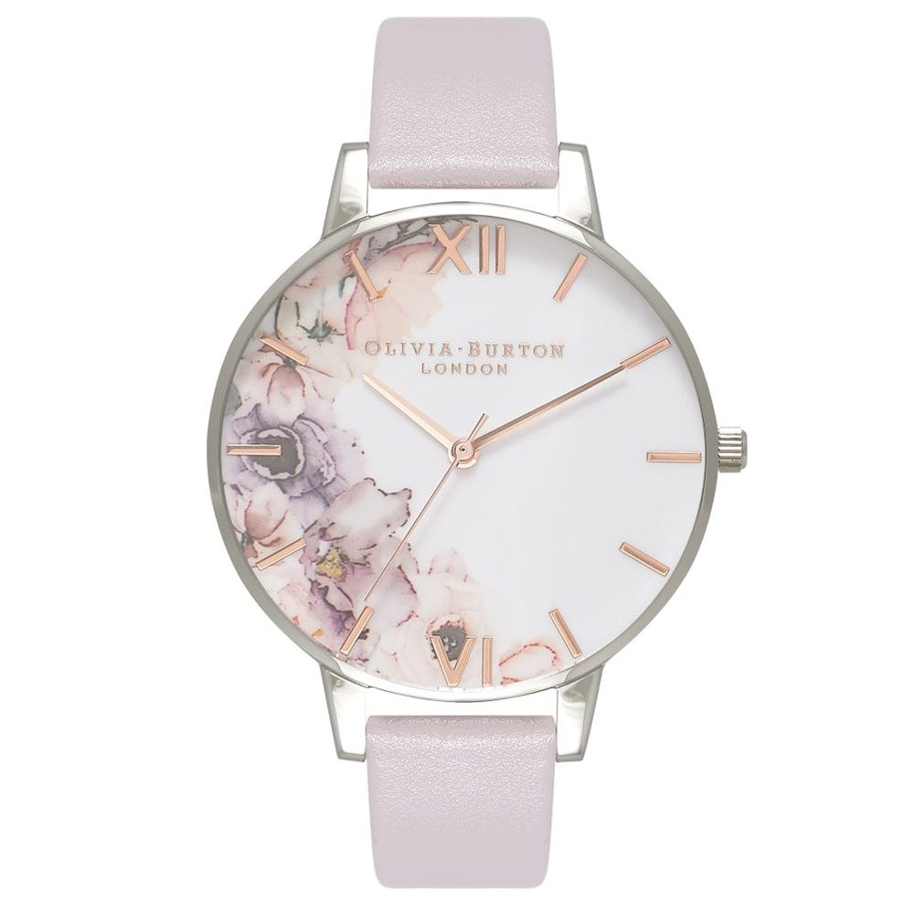 Watercolour Florals Watch - Grey Lilac & Silver
