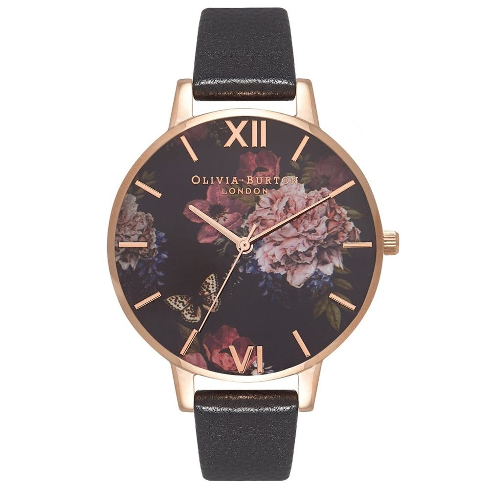 Dark Bouquet Watch - Black & Rose Gold