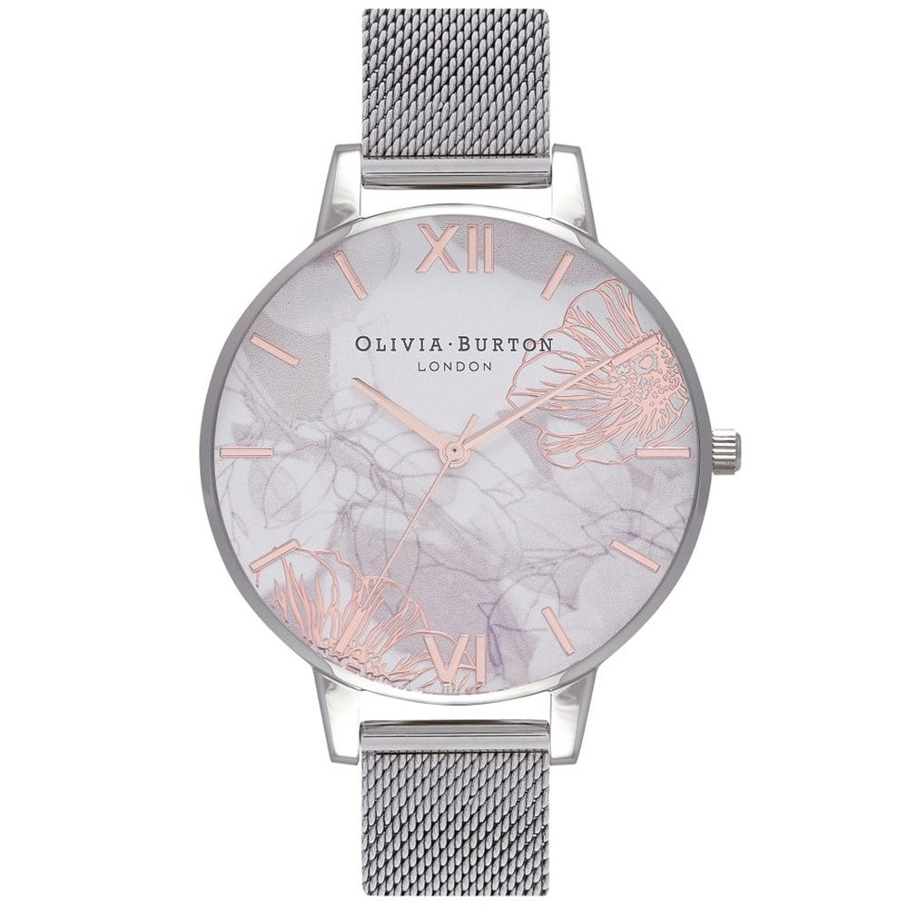 Abstract Floral Big Dial Mesh Watch - Silver