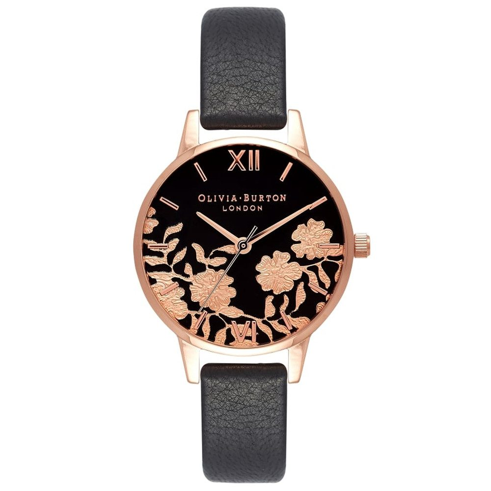 Lace Detail Midi Dial Watch - Black & Rose Gold