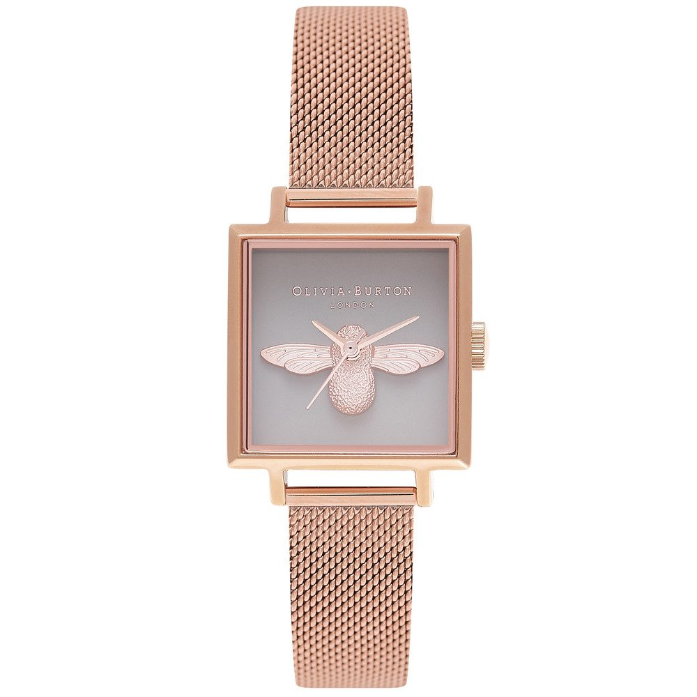 3D Bee Square Grey Dial Mesh Watch - Rose Gold