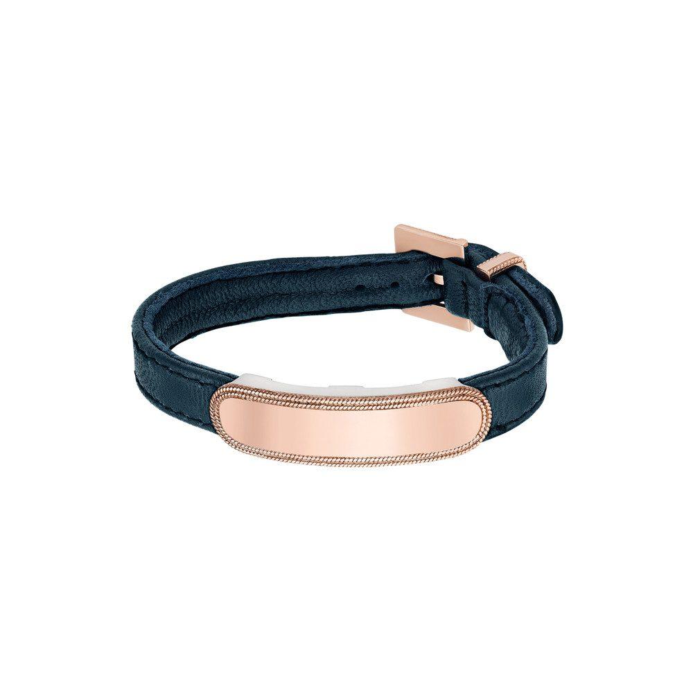Leather Band Bracelet - Navy & Rose Gold