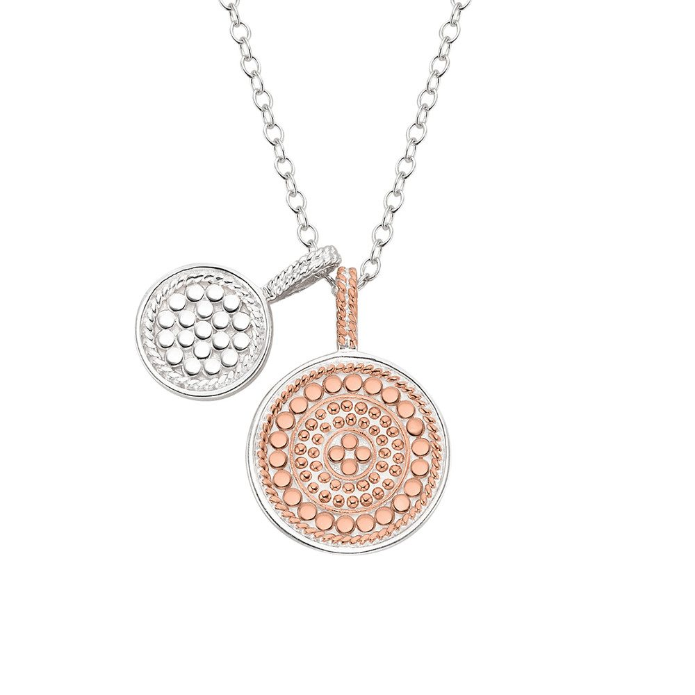 Reversible Double Disc Charm Necklace - Rose Gold & Silver