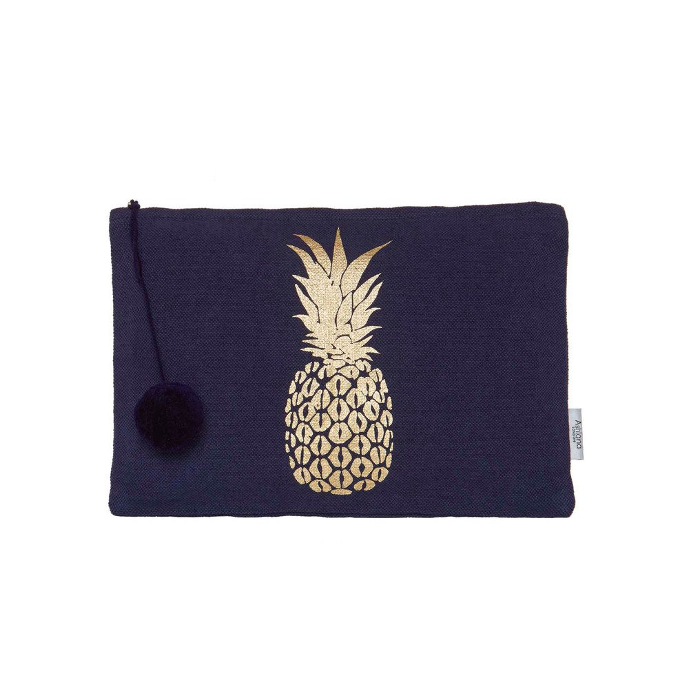 Large Gold Printed Pouch - Navy Pineapple