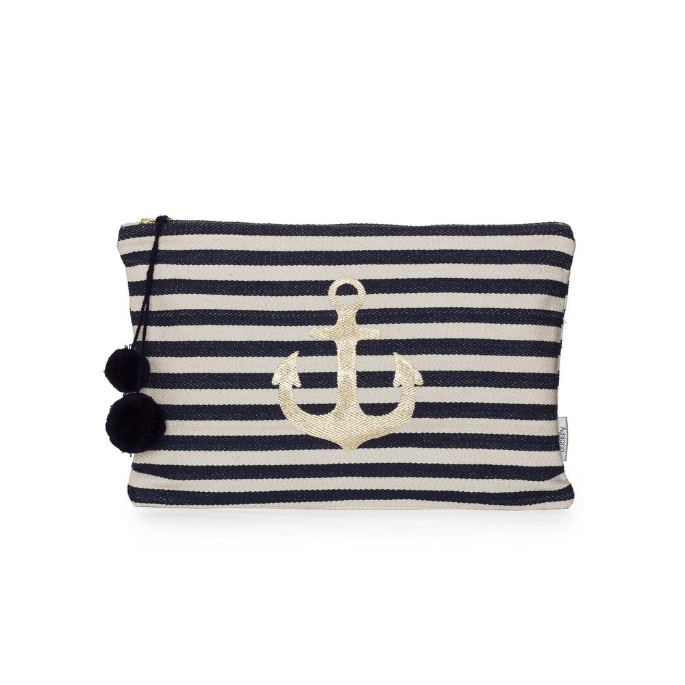 Large Gold Printed Pouch - Navy Anchor