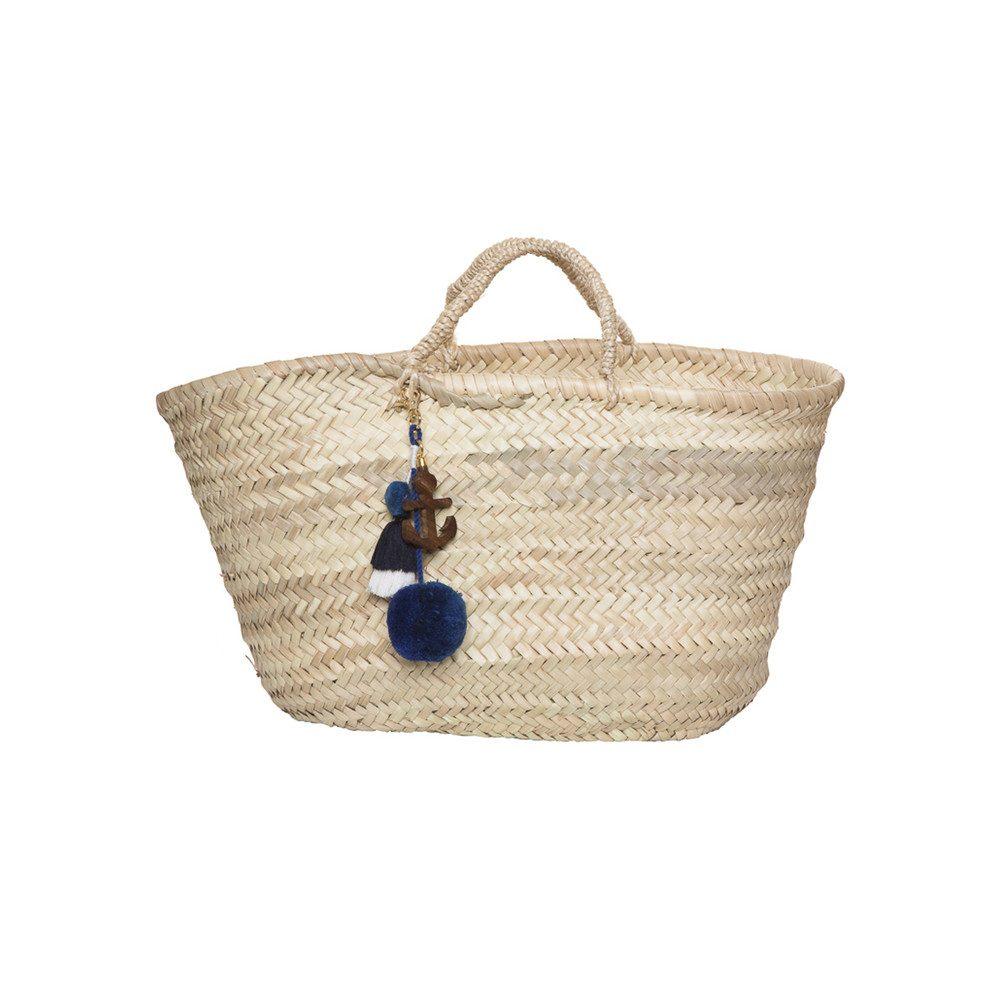 Straw Basket - Navy Anchor
