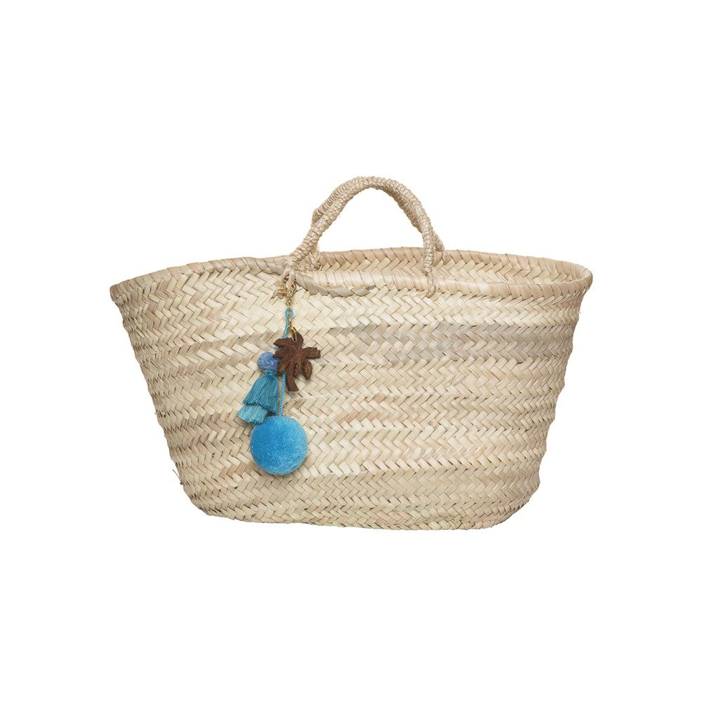 Straw Basket - Blue Palm Tree