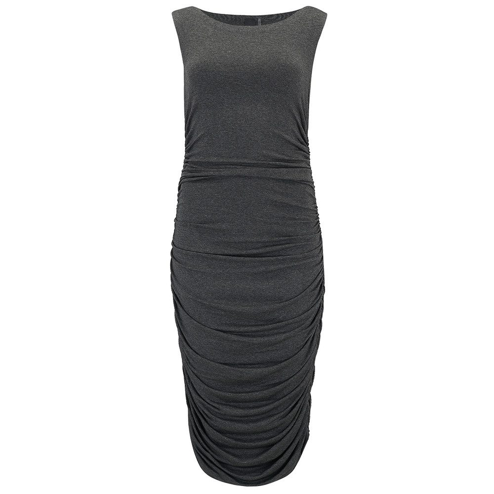 Sleeveless Shirred Waist Dress - Dark Grey