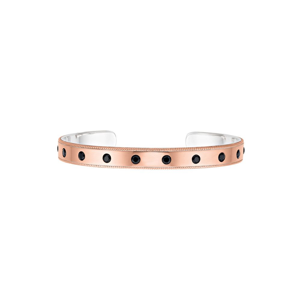 Bezeled Pave Cuff - Rose Gold & Black Onyx