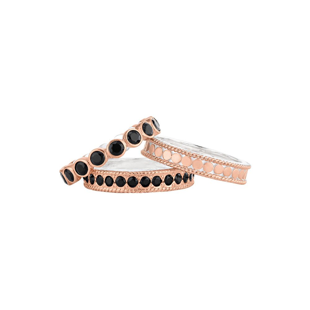 Set of 3 Rings - Rose Gold & Black Onyx