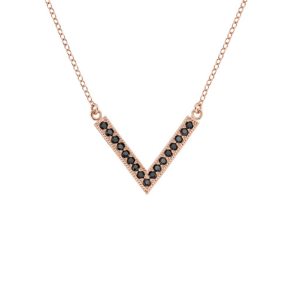 Reversible Pave V Necklace - Rose Gold & Black Onyx