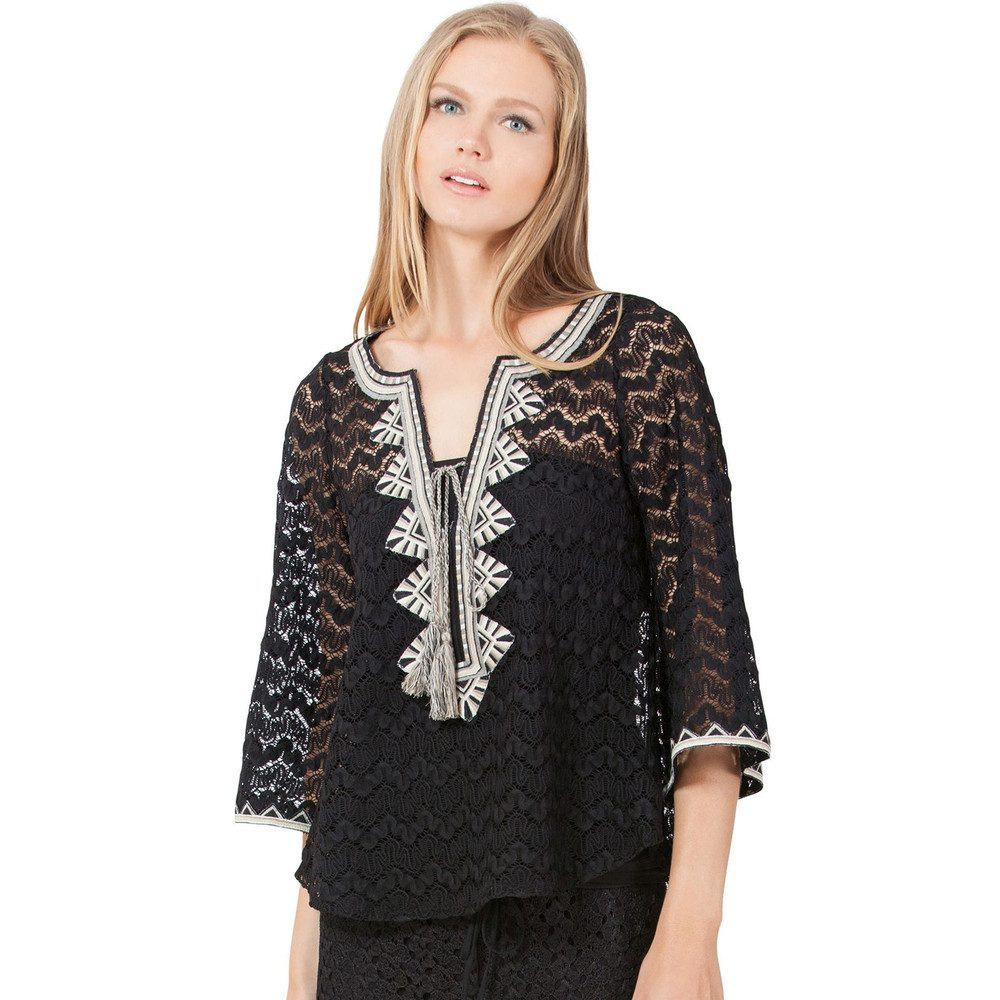Licia Crochet Blouse - Black