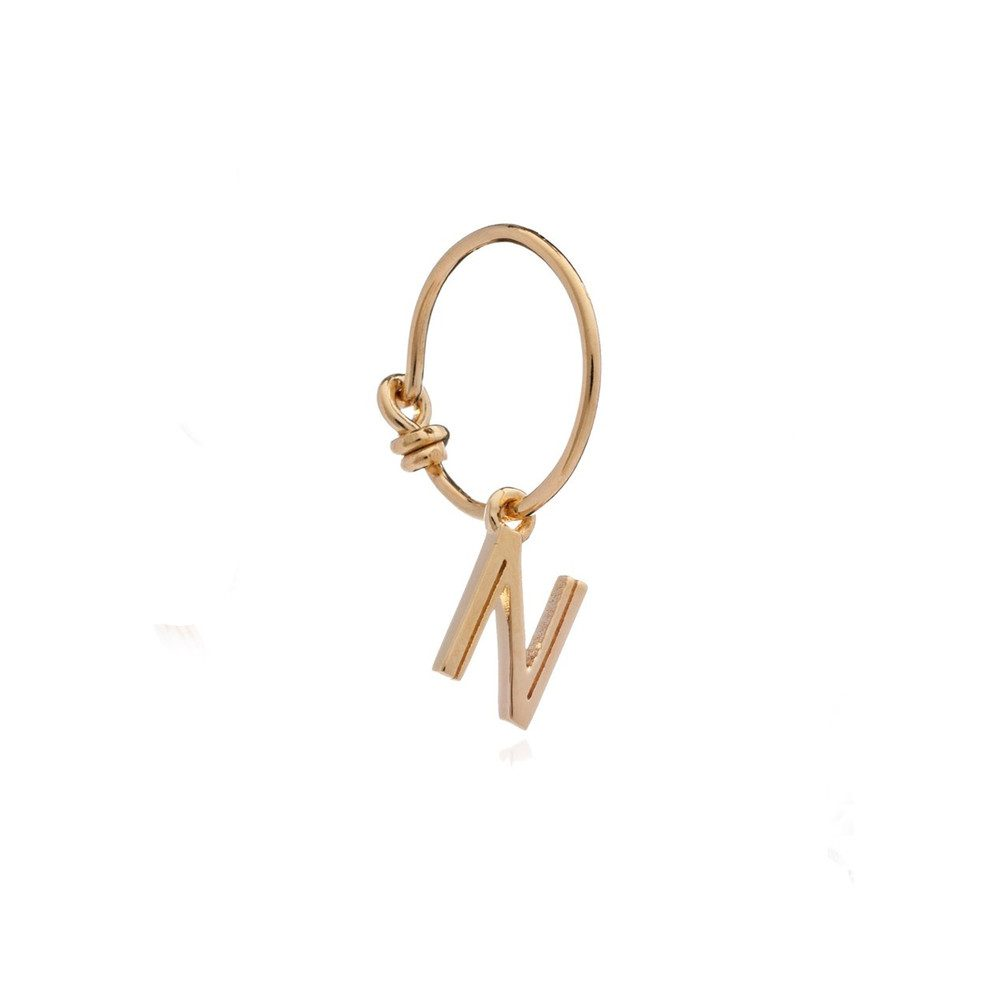 This is Me Gold Mini Hoop Earring - Letter N