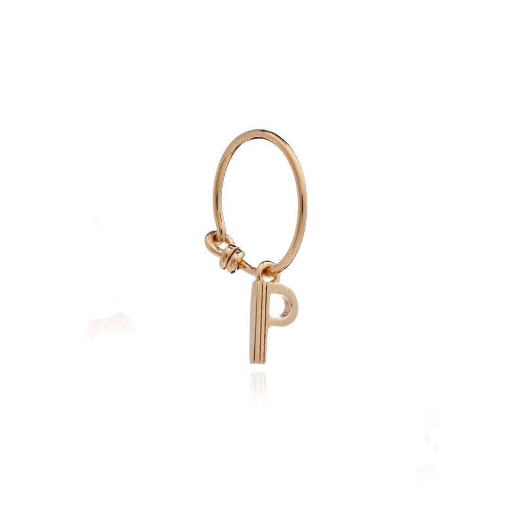 This is Me Gold Mini Hoop Earring - Letter P