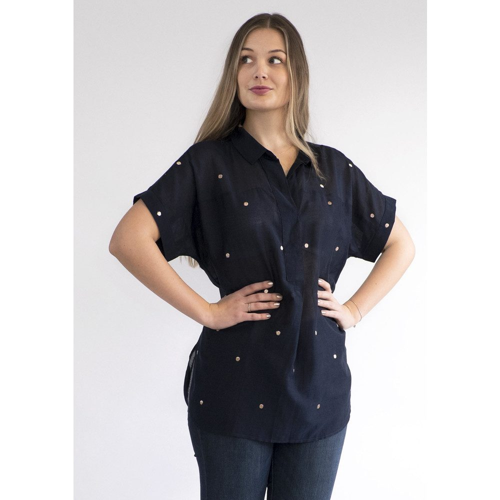 Beatrice Embroidered Shirt - Navy