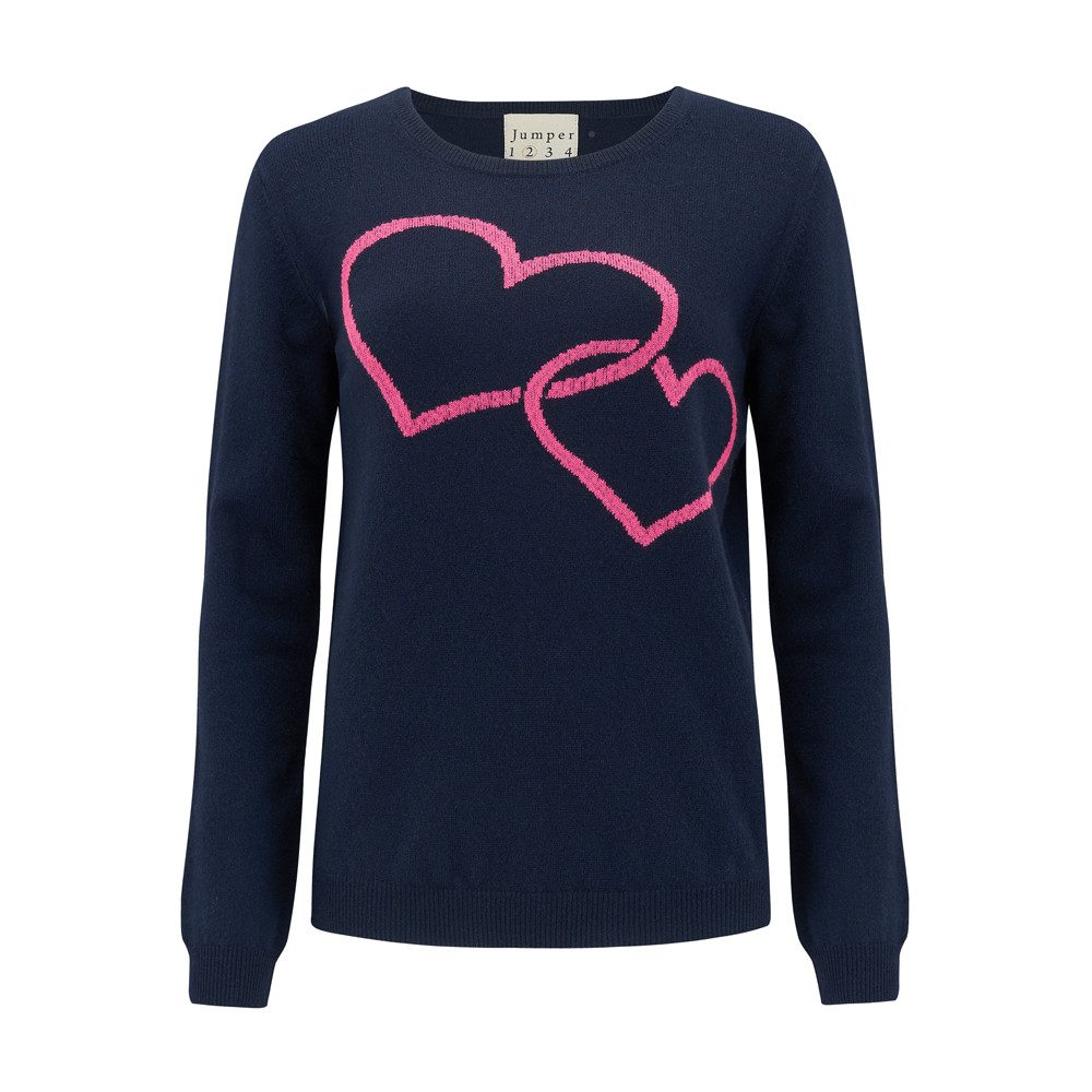 Two Hearts Crew Cashmere Jumper - Navy & Tulip