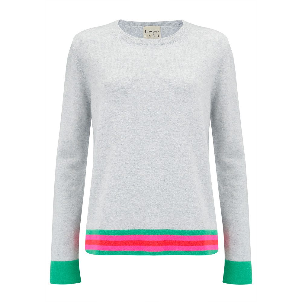 Striped Boxy Crew Cashmere Jumper - Grey, Green & Pink