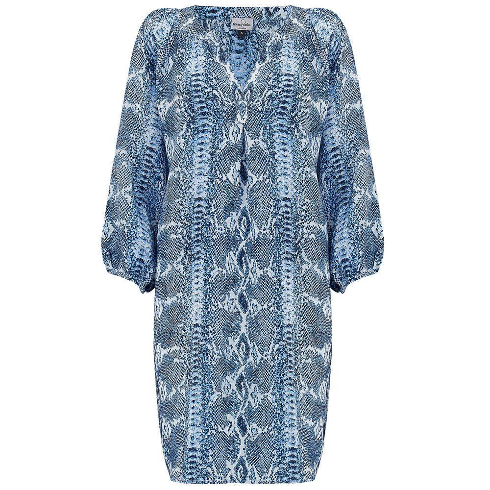 Florence Silk Dress - Python Sapphire