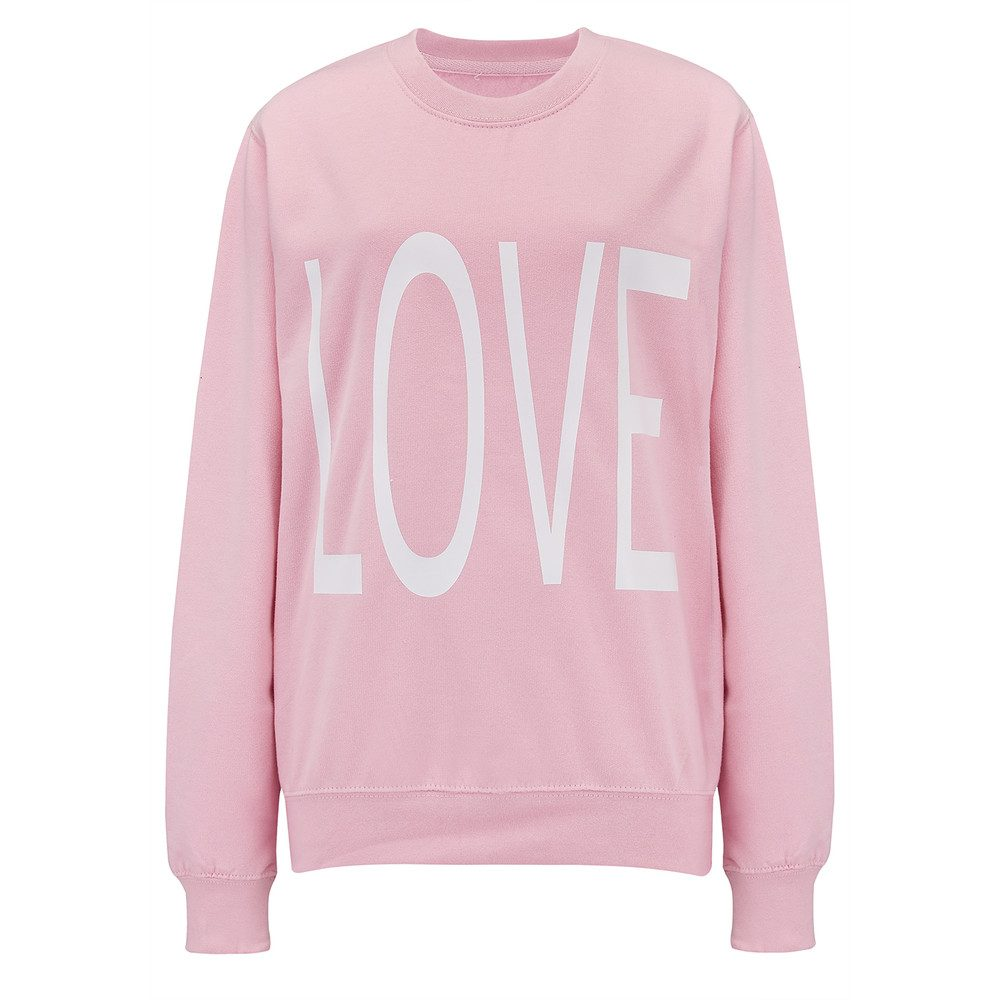 Oversized Love Sweater - Pink & White