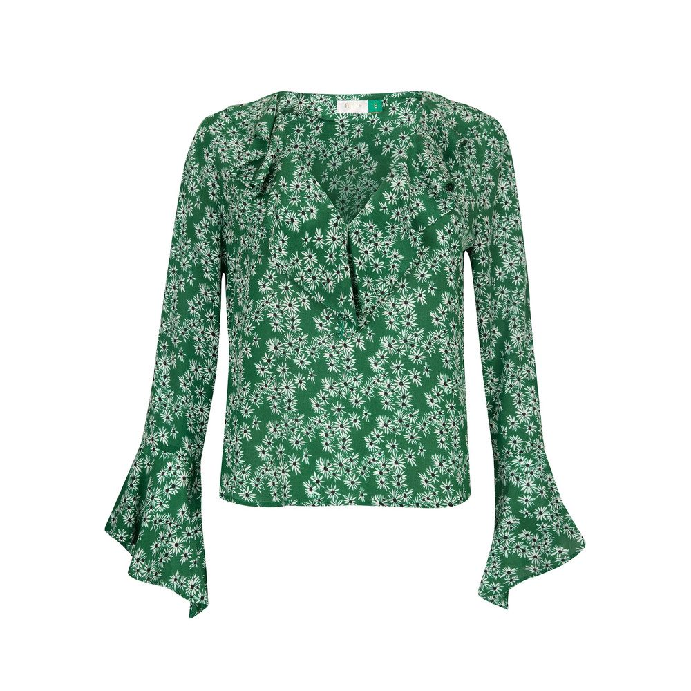 Jane Ruffle Neck Blouse - Daisy Green