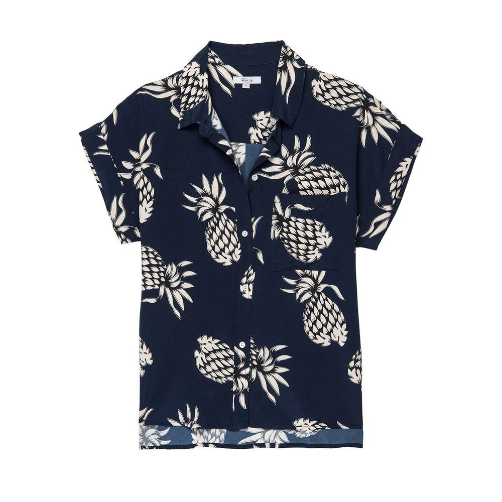 Whitney Silk Top - Ananas Navy