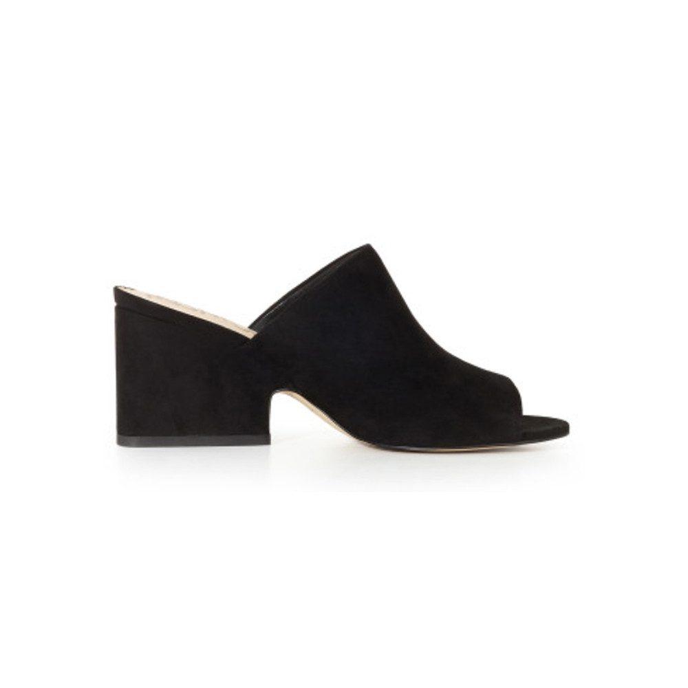 Rheta Block Heel Suede Mules - Black