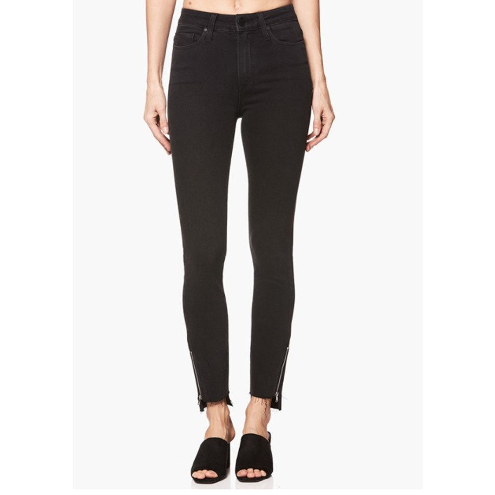 Margot Crop Skinny Uneven Hem with Zip Jeans - Black Fog