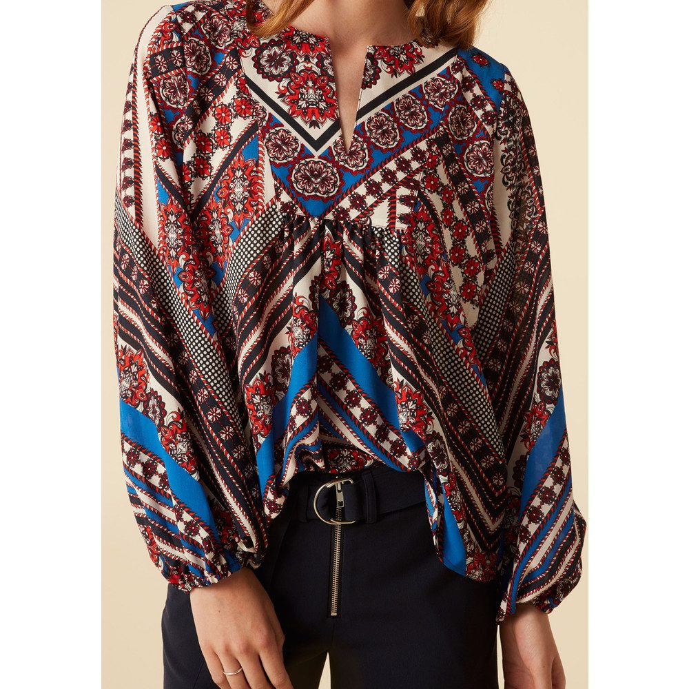 Callie Blouse - Blue Graphic